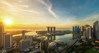 Landscape Of Singapore City In Morning Light Sunrise Poster by Anek Suwannaphoom