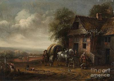 Landscape With A Farmhouse And Resting Travellers Poster