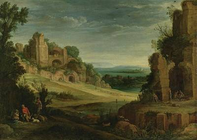 Landscape With A Hunting Party And Roman Ruins Poster by Paul Bril