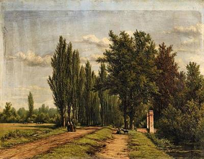Landscape With A Poplar Lined Avenue Poster by Jan Willem van