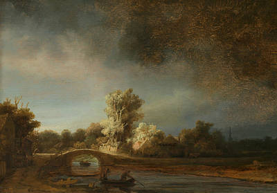 Landscape With A Stone Bridge Poster by Rembrandt