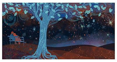 Landscape With Couple Snuggling And Tree Poster by Gillham Studios