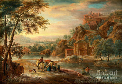 Landscape With Figures And Buildings Poster by Celestial Images