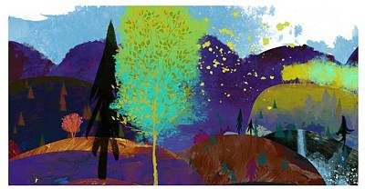 Landscape With Hills In Purple Poster by Gillham Studios
