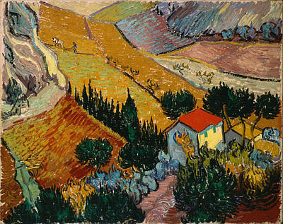 Poster featuring the painting Landscape With House And Ploughman by Van Gogh