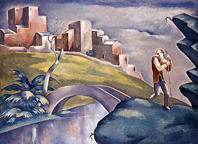 Landscape With Human Figure Poster