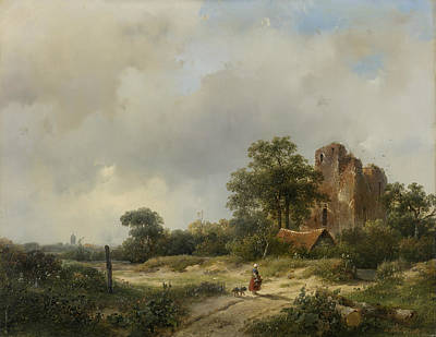 Landscape With The Ruins Of Castle Brederode In Santpoort Poster by Andreas Schelfhout