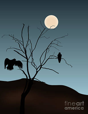 Landscape With Tree Vultures And Moon Poster by David Gordon