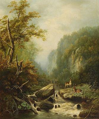Landscape With Two Deer Poster by Johann Gottfried