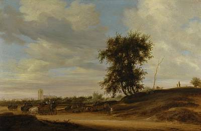Landscape With Wagons Poster by MotionAge Designs