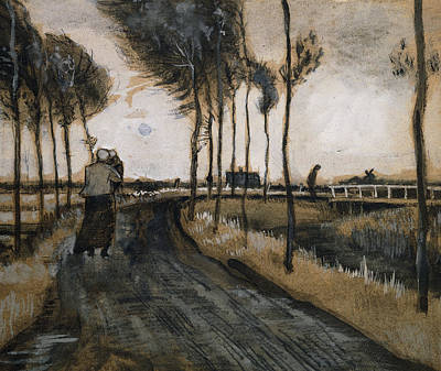 Landscape With Woman And Child Poster by Vincent Van Gogh