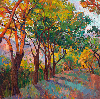 Poster featuring the painting Lane Of Oaks by Erin Hanson