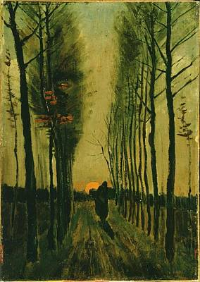 Poster featuring the painting Lane Of Poplars At Sunset by Van Gogh