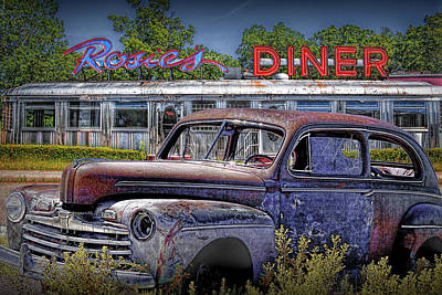 Languishing Vintage Automobile By Historic Rosie's Diner Poster