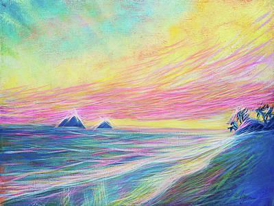Poster featuring the painting Lanikai Sunrise by Angela Treat Lyon