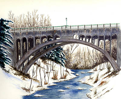 Lanterman Falls Bridge - Mill Creek Park Poster by Michael Vigliotti
