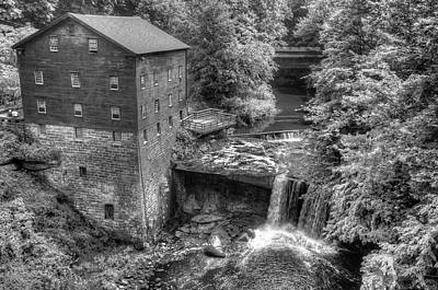Lanterman's Mill Black And White - Youngstown Ohio Poster by Gregory Ballos