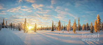 Poster featuring the photograph Lapland Panorama by Delphimages Photo Creations