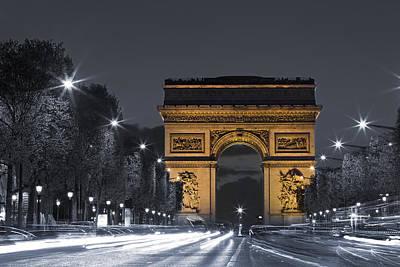Larc De Triomphe By Night Poster by Simon Kayne