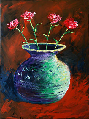 Poster featuring the painting Large Abstract Roses In Vase Painting by Mark Webster