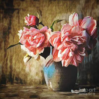 Large Pink Flowers In A Vase Poster