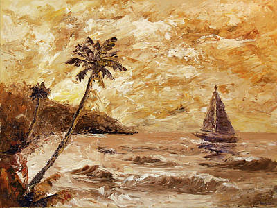 Large Sailboat On The Hawaiian Coast Oil Painting  Poster by Mark Webster