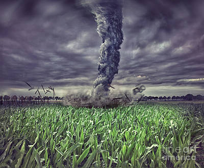 Large Tornado Over The Meadow Poster by Caio Caldas