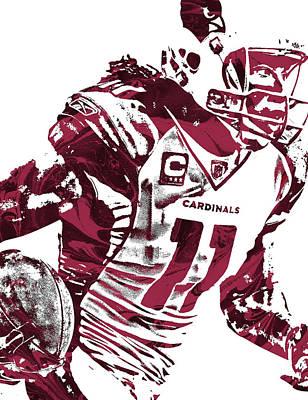 Poster featuring the mixed media Larry Fitzgerald Arizona Cardinals Pixel Art 1 by Joe Hamilton