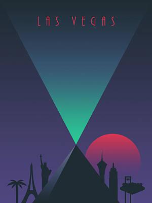 Las Vegas Luxor Casino Art Deco 80's Tourism Poster by Ivan Krpan