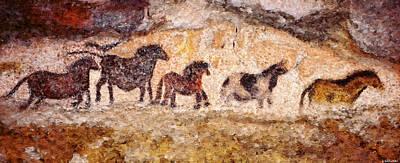 Lascaux Horses Poster