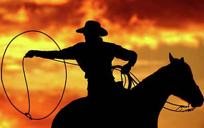 Lasso Sunset Cowboy Poster