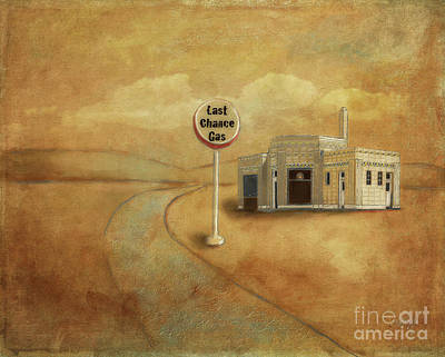 Poster featuring the digital art Last Chance Gas by Lois Bryan