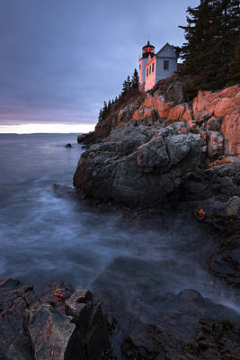 Poster featuring the photograph Last Light At Bass Harbor by Patrick Downey