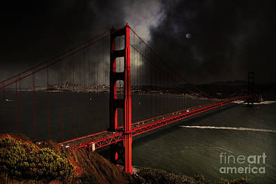Last Light Beyond The Golden Gate . 7d14507 Poster by Wingsdomain Art and Photography