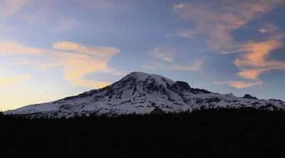 Last Light On Mount Rainier Poster by Dan Sproul