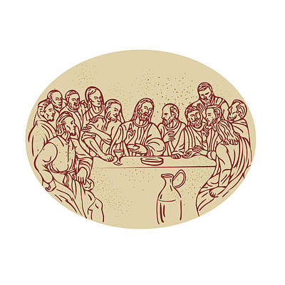 Last Supper Jesus Apostles Drawing Poster