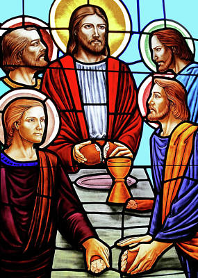 Last Supper Stained Glass Poster by Munir Alawi