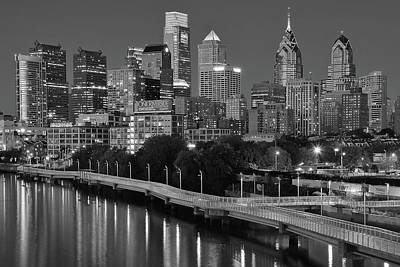 Late Night Philly Grayscale Poster by Frozen in Time Fine Art Photography