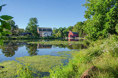 Late Summer - The Red Mill  On The Raritan River - Clinton New J Poster by Bill Cannon