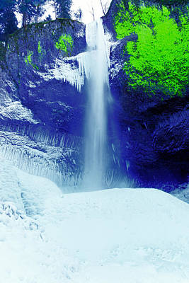 Latourell Falls In Winter Poster by Jeff Swan