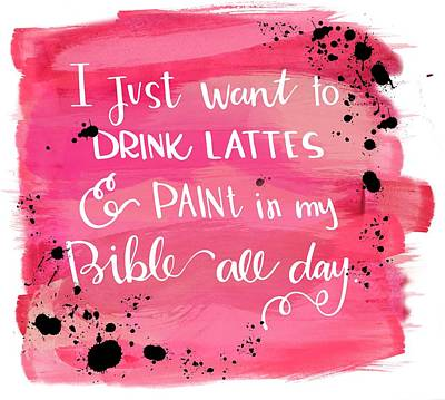 Lattes And Paint Poster