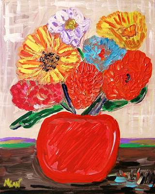 Poster featuring the painting Lattice And Red Vase by Mary Carol Williams