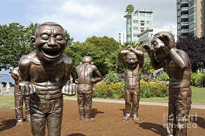 Laughing Men Sculptures Vancouver Canada Poster by John  Mitchell