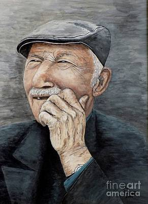 Poster featuring the painting Laughing Old Man by Judy Kirouac