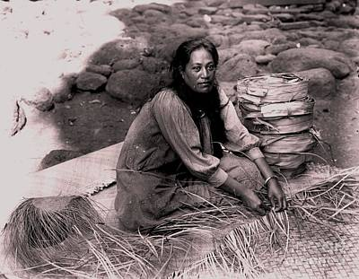 Poster featuring the photograph Lauhala Weaver by Pg Reproductions