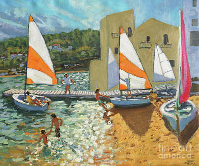 Launching Boats, Calella De Palafrugell, Spain Poster by Andrew Macara