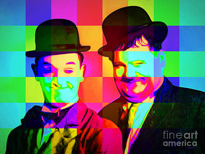 Laurel And Hardy 20160102 Colorsquares Poster by Wingsdomain Art and Photography