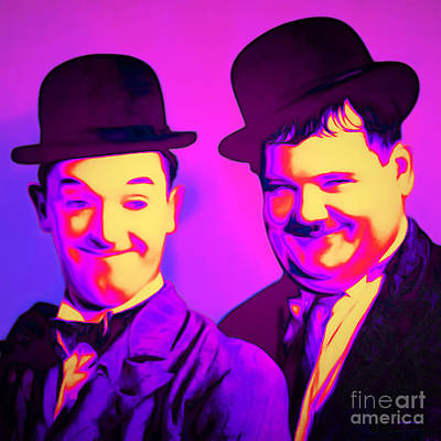 Laurel And Hardy 20160102 Square Poster by Wingsdomain Art and Photography