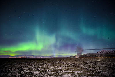Lava And Light - Aurora Over Iceland Poster by Alex Blondeau