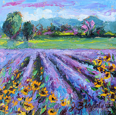 Poster featuring the painting Lavender And Sunflowers In Bloom by Jennifer Beaudet